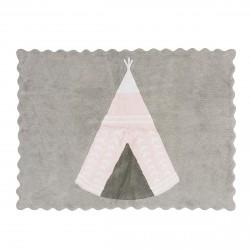Tapis enfant coton gris tipi rose