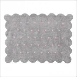 Tapis Biscuit gris à pois roses