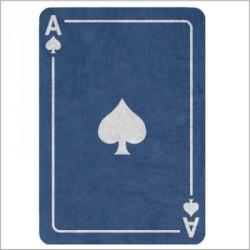 Tapis carte As de pique bleu