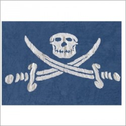 Tapis drapeau pirate bleu