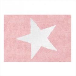 Tapis enfant coton étoile Estela rose