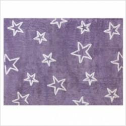 Tapis enfant coton étoiles Esterella mauve
