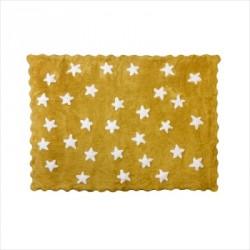 Tapis enfant coton étoiles Eden moutarde
