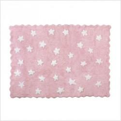 Tapis enfant coton étoiles Eden rose