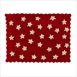 Tapis Etoiles Rouges Beiges