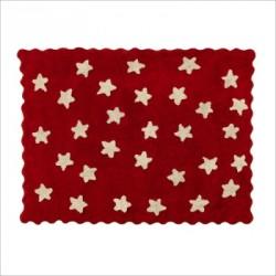 Tapis enfant coton étoiles Eden rouge
