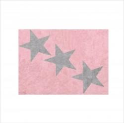 Tapis enfant coton rose étoiles Europe grises