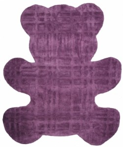 Tapis ours prune en coton