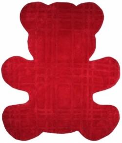 Tapis ours rouge en coton