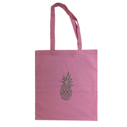 Tote bag  rose pale ananas argent