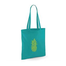 tote bag emeraude ananas jaune fluo