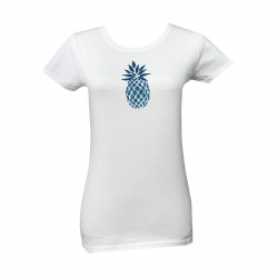 Tee shirt ananas Turquoise pailleté manche courte