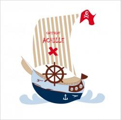 Sticker tête de lit le Bateau de pirate bleu personnalisable