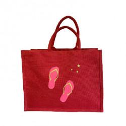 Sac cabas toile de jute rouge tong rose fluo pailleté