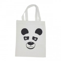 Tote bag mini panda blanc