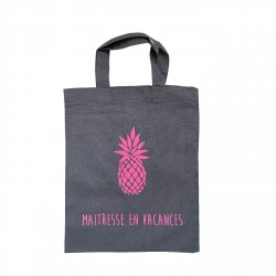 Tote bag gris ananas rose fluo