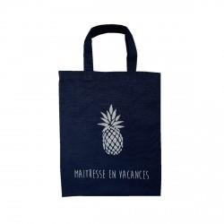 Tote bag mini ananas bleu marine maitresse