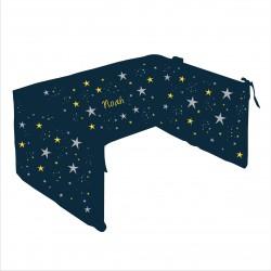 Tour de lit étoiles magiques bleu nuit et jaune personnalisable