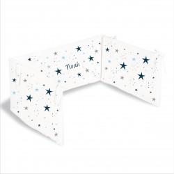 Tour de lit étoiles magiques bleu marine personnalisable