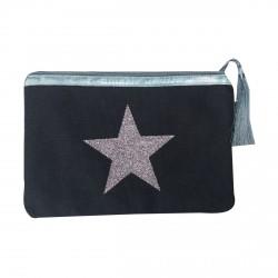 Pochette taupe étoile multicolores personnalisable