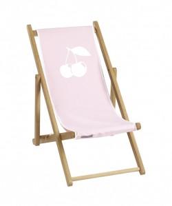 Chaise longue toile coton cerise personnalisable