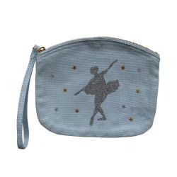 Pochette bombée bleu ciel danseuse argent