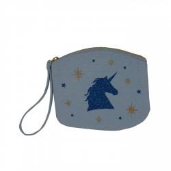 Pochette bleu ciel licorne bleue