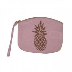 Pochette rose pâle ananas doré