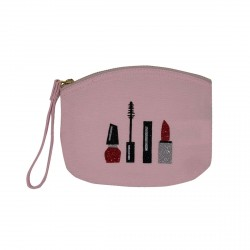 Pochette rose pâle maquillage