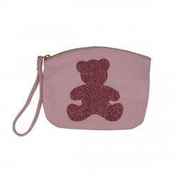 Pochette rose pâle ourson rose