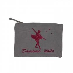 Pochette grise danseuse étoile rose