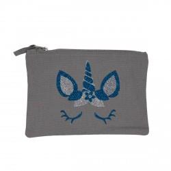 Pochette grise tête de licorne bleue