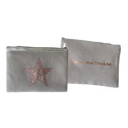 Trousse étoile beige personnalisable bronze