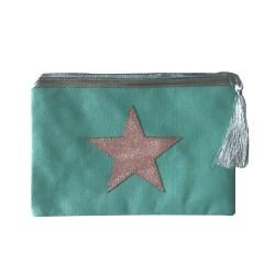 Pochette bleu menthe étoile dorée personnalisable