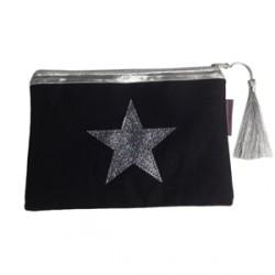 Pochette noire étoile pailletée argentée