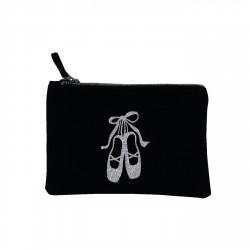 Pochette noire chaussons de danse argentés