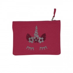 Pochette rose tête de licorne argentée