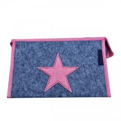 Pochette en feutrine grise étoile rose personnalisable