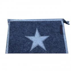 Pochette en feutrine grise étoile argentée personnalisable