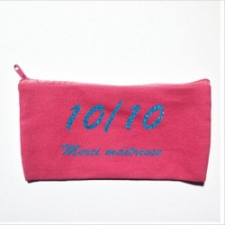 Trousse maîtresse personnalisable rose 10/10 turquoise
