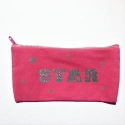 Trousse personnalisable rose star argent
