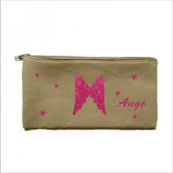Trousse personnalisable taupe ailes d'ange