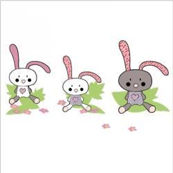 3 petits lapins lili pouce stickers appliques frises tapis luminaires lampes. Black Bedroom Furniture Sets. Home Design Ideas