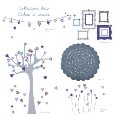 Ambiance déco arbre à coeurs bleu