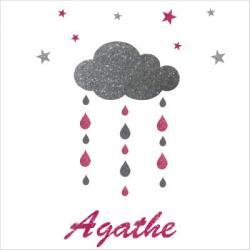 Stickers nuages gouttes et etoiles argent et rose personnalisable ...