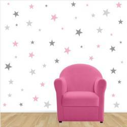 STICKERS SISSI Etoiles rose pale gris clair et gris fonce | Lili Pouce :  stickers, appliques, frises, tapis, luminaires, lampes, suspensions enfant